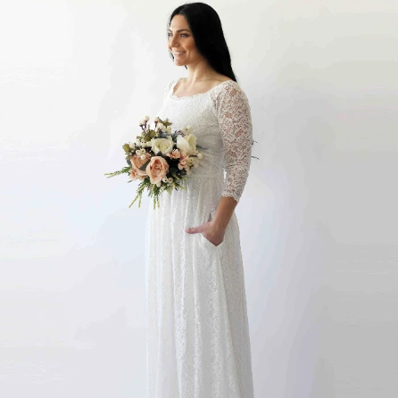 Off-The-Shoulder Ivory  Floral Lace Long Sleeve Maxi Dress with pockets 1270