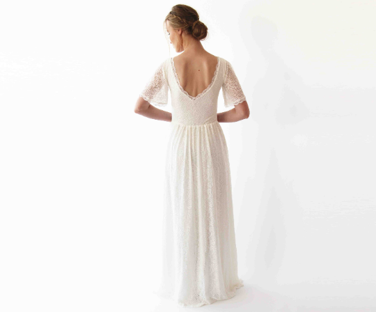 Butterfly sleeves  bohemian Ivory wedding dress #1232