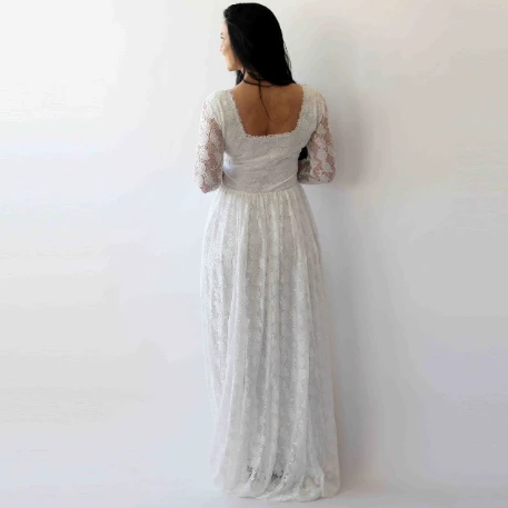 Ivory Square Neckline Vintage inspired Wedding Dress , Ivory Lace Long Sleeves dress, 1271