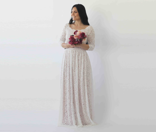 Ivory Blush Off Shoulder Wedding  Dress with pockets #1264