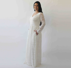 Curve & Plus size Diamond neck wedding dress with pockets  , vintage inspired ,bohemian wedding dress,  long sleeves dress 1243