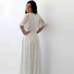 Sleeves lace wedding dress, Flutter Sleeves Ivory boho wedding dress with pockets 1267