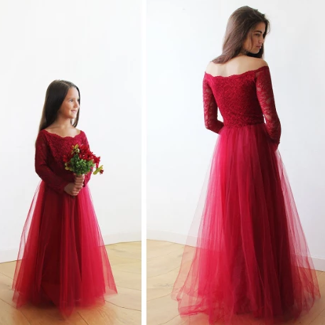 Mini Me CollectionOff-The-Shoulder Burgundy Lace and Tulle gown, Lace burgundy tulle gown, mommy and me dress,  1134