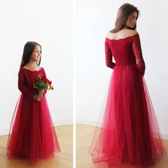 Mini Me CollectionOff-The-Shoulder Burgundy Lace and Tulle gown,  1134