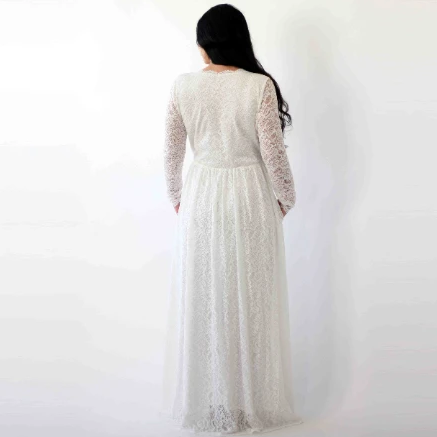Curve & Plus Sleeves lace wedding dress,Long sleeves Ivory boho wedding dress with pockets 1269
