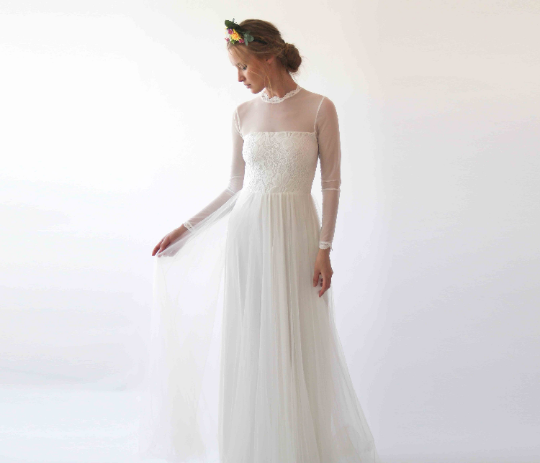 Illusion chiffon mesh neckline wedding dress #1225