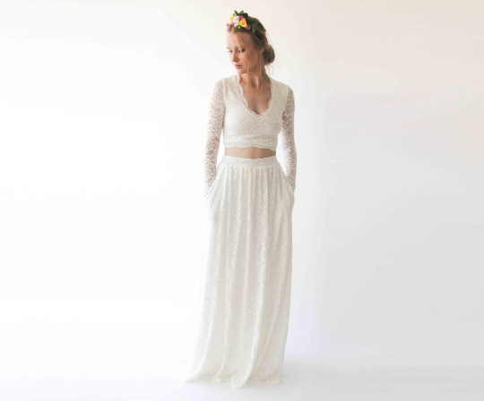 Long Sleeves Ivory Wedding Top , V-Neckline Bridal top, Ivory lace wedding top 2057