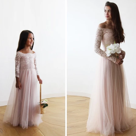 Mini Me Collection Blush Off-The-Shoulder Lace and Tulle gown ,mommy and me dress 1134