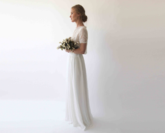 Romantic style Bridal chiffon skirt, Ivory  Wedding Chiffon Skirt  3033