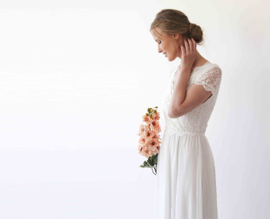 Bestseller Ivory short cape sleeves lace wedding dress  #1235