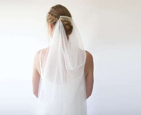 Wedding Boho Draped Veil ,Metal Leaves Comb Veil 4032