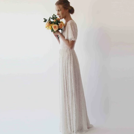 Cape sleeves lace bohemian wedding dress, Ivory nude color 1232