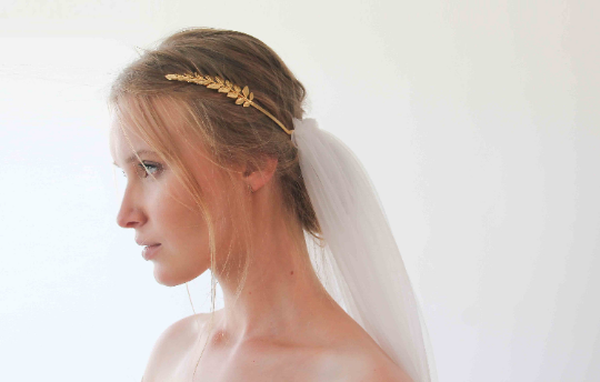 Goddess Crown Headpiece Veil,Gold Leaves Bridal Tulle Veil , Bohemian veil   ,Soft tulle veil 4030