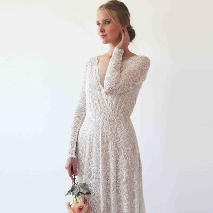 Vintage Style Long Sleeves lace wedding dress  #1258