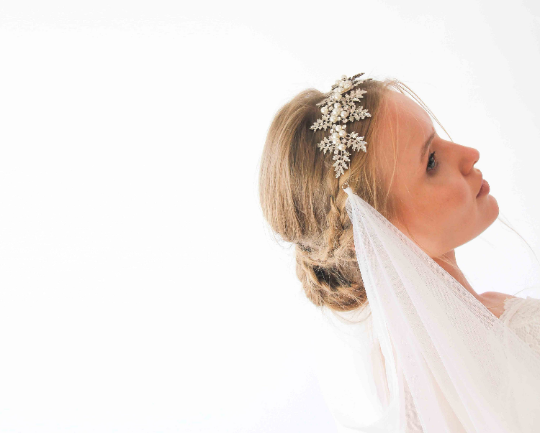 Boho headpiece veil ,wedding silver crown leaves and pearl bridal tulle veil 4031