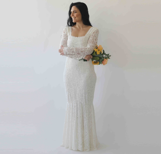 Curve & Plus size Mermaid lace wedding dress with square neckline , vintage inspired ,bohemian wedding dress,  long sleeves dress 1245