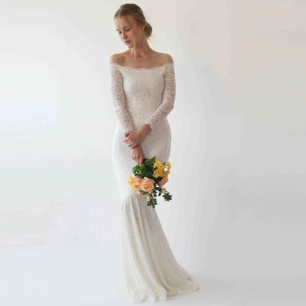 Ivory off Shoulder Mermaid  Wedding Dress #1254