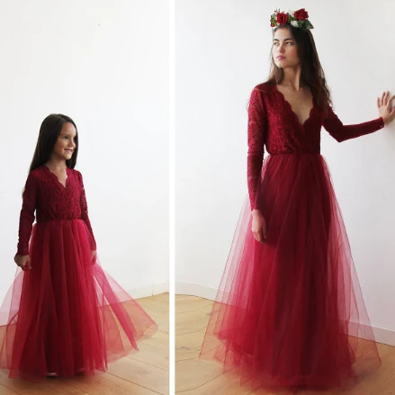 Mini Me Collection Bordeaux tulle and lace long sleeves gown, Tulle and lace Bordeaux maxi dress, mommy and me dress 1125