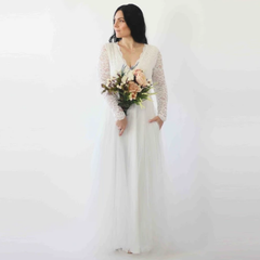 Curve & Plus size Ivory Lace Long Sleeves Wedding Dress with pockets , Tulle and Lace Bridal Gown, Long Sleeve Wedding Dress,  1266.