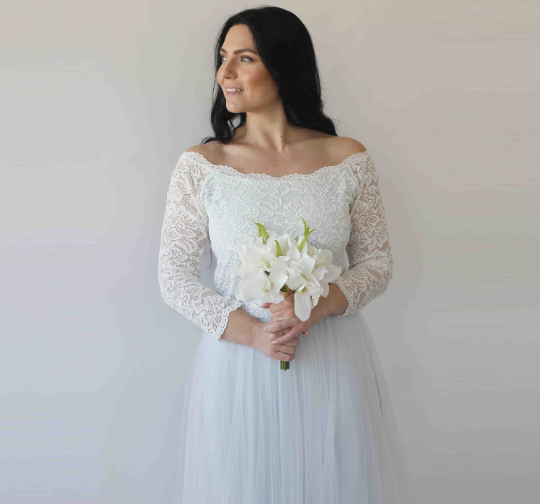 Curve & Plus size  Two Colors Wedding Dress, Off-Shoulder Lace gown, Lace and Tulle Dress,Light  Blue wedding dress, Wedding dress 1134