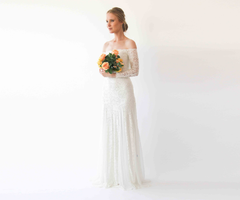 Ivory f Shoulder Wedding Maxi Dress, Long Sleeves wedding dress 1228