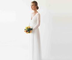 Long sleeves wrap lace wedding dress with lace and chiffon  , Ivory lace 1256