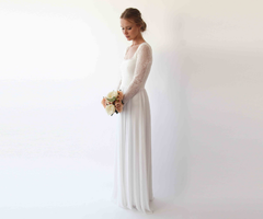 Square neckline ,Long sleeves wedding dress, simple wedding dress  1231