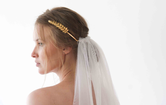 Goddess Crown Headpiece Veil,Gold Leaves Bridal Tulle Veil , Bohemian veil   ,St tulle veil 4030