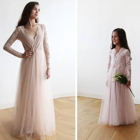 Mini Me Collection Blush Pink tulle and lace long sleeves gown, Tulle and lace Bordeaux maxi dress , mommy and me dress 1125