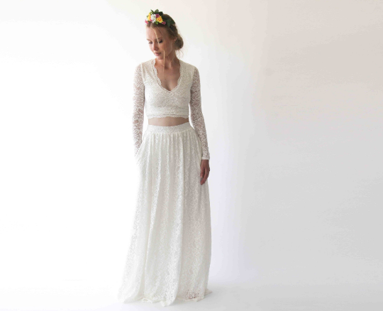 Wedding Dress Separates, Two Piece Bridal Gowns , Boho style Lace ,Long Sleeves Top and Ivory Lace Skirt with pockets 1250