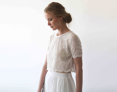 Romantic style Lace ,Short Sleeves Top , Bridal Ivory top, Lace Wedding top  ,Boho crop top 2055