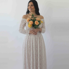 Ivory Nude Off Shoulder Wedding Maxi Dress, Vintage style wedding dress, Bridal Wedding Gown 1264