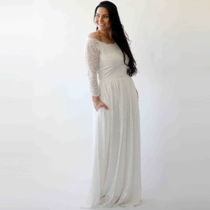 Off-The-Shoulder Ivory   Dress with pockets #1270