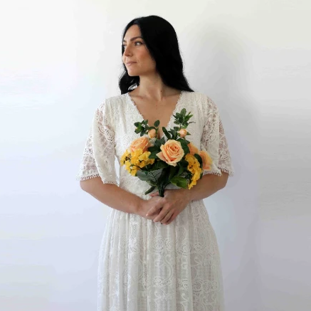 Curve & Plus size Sleeves lace wedding dress,Long sleeves Ivory boho wedding dress with pockets 1267