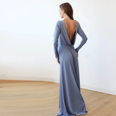 Dusty blue Long Sleeve Formal Maxi Dress With Open-back 1041
