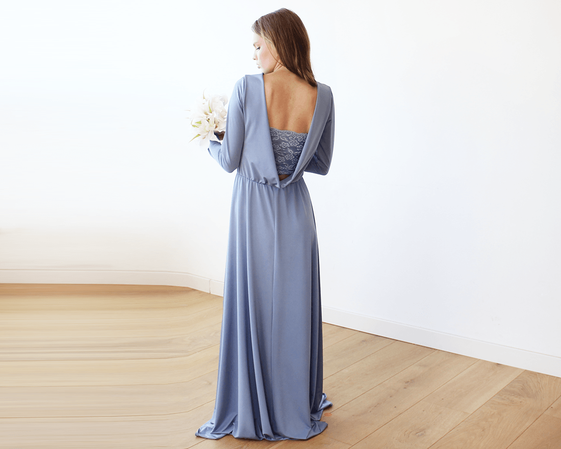 Dusty blue Long Sleeve Formal Maxi Dress With Open-back SALE 1041