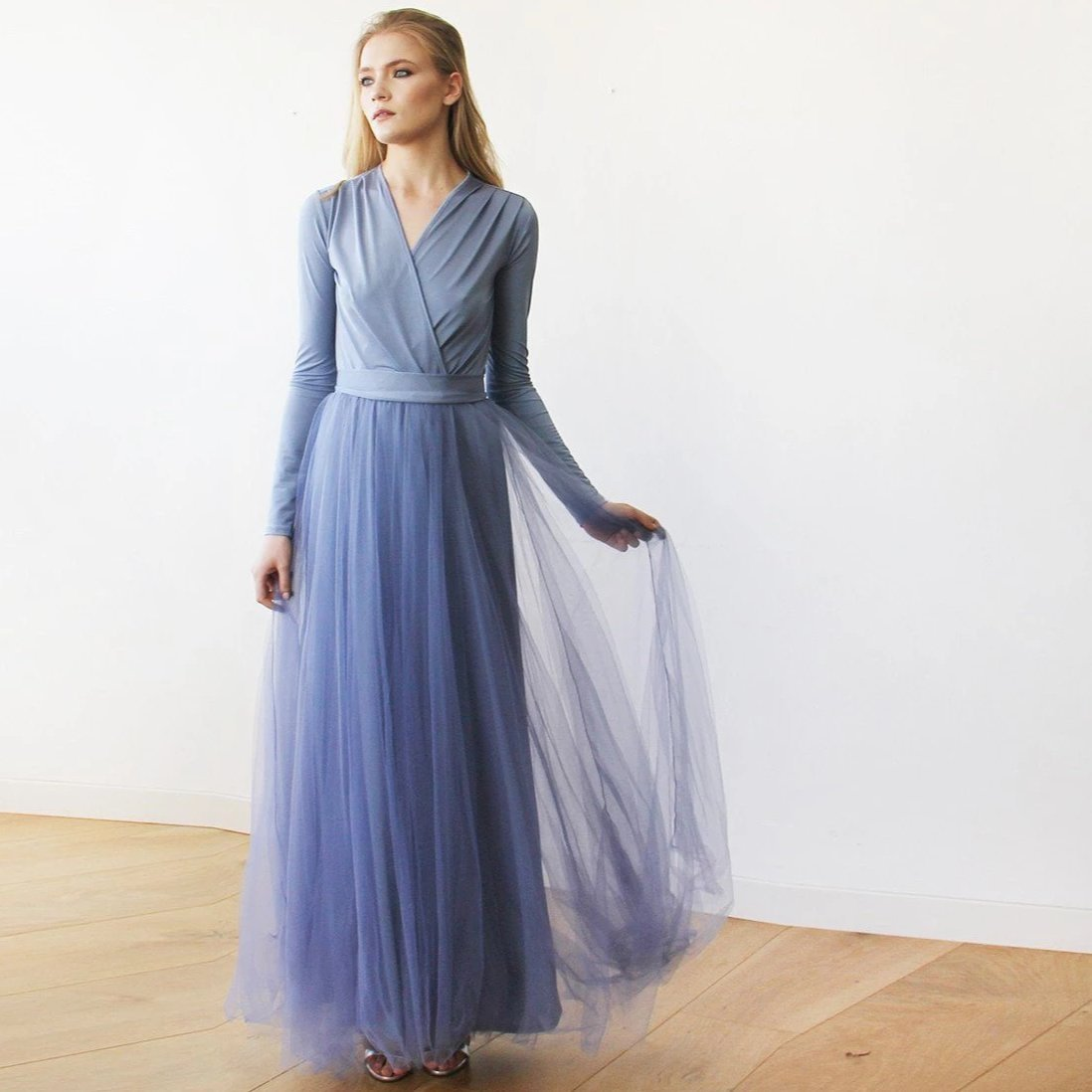 Dusty Blue maxi tulle dress with long sleeves 1066 ...