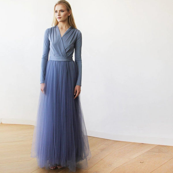 Dusty Blue maxi tulle dress with long sleeves 1066