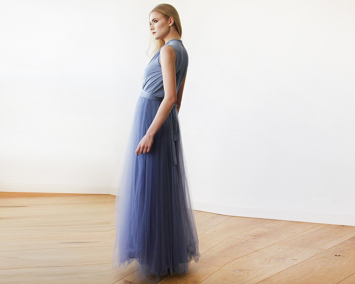 Dusty Blue maxi tulle sleeveless dress SALE 1076