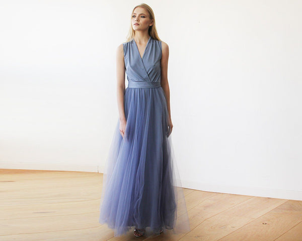 Dusty Blue maxi tulle sleeveless dress