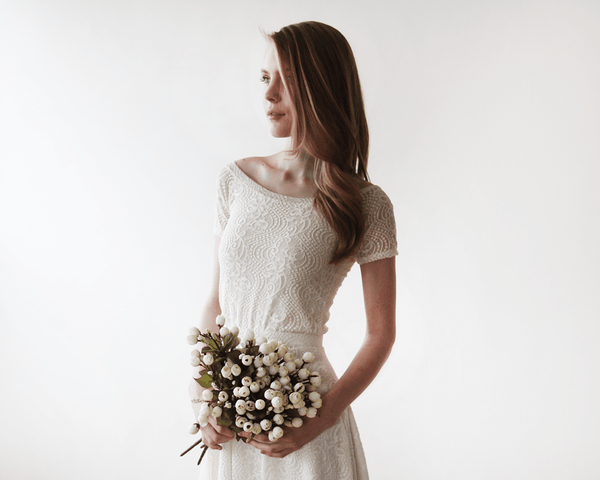 Off-shoulder Ivory lace bridal top