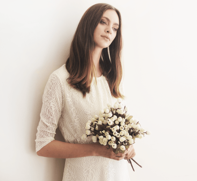 Ivory 3/4 sleeves lace bridal top #2025