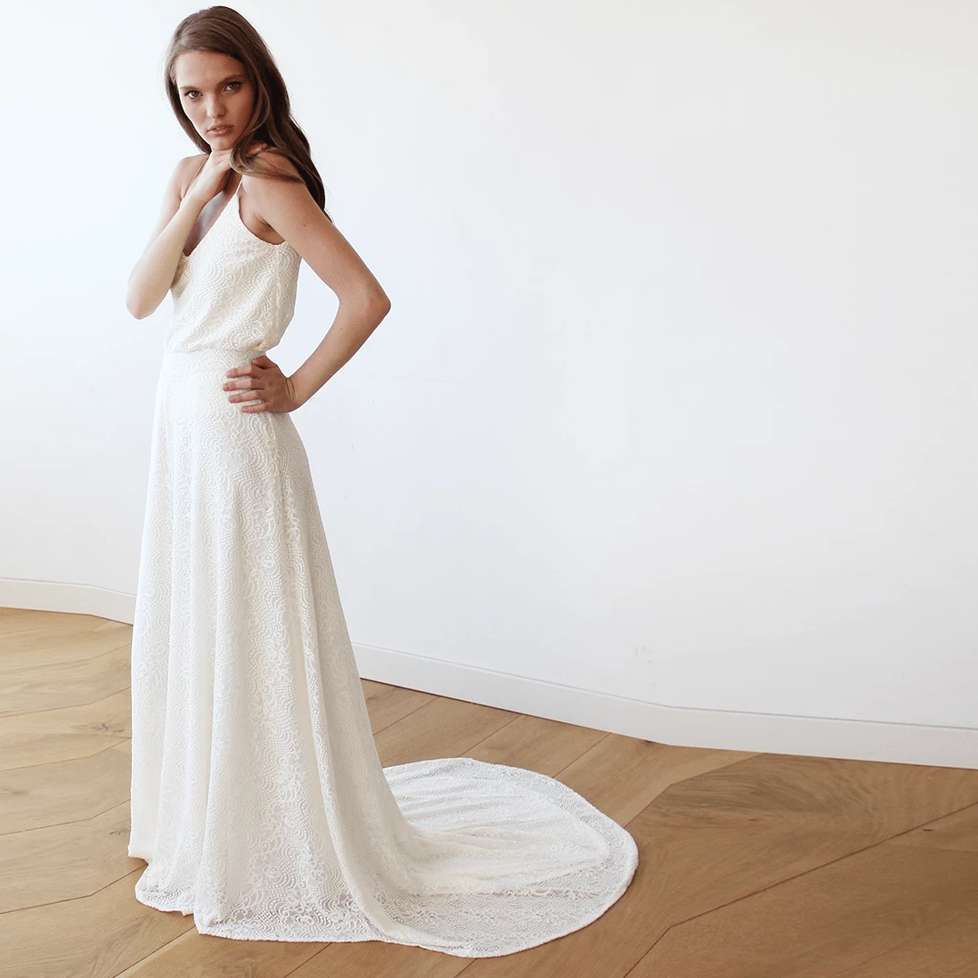 Floral Lace Bridal Maxi Skirt with long train 3026 - Blushfashion