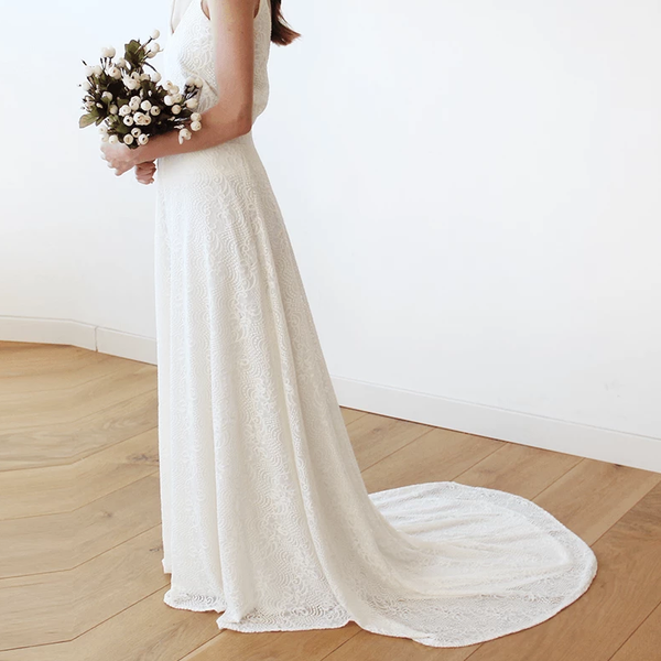 Maxi Floral lace bridal skirt with long train