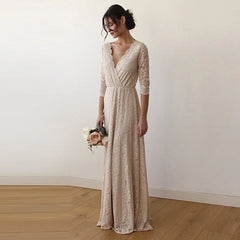 Champagne Lace three quarters Sleeve Wedding maxi dress 1124 - Blushfashion