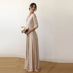 Golden lace wedding dress, vintage inspired maxi wrap dress 1124