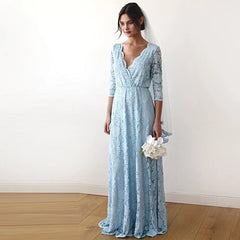 Light Blue Lace three quarters Sleeve Wedding maxi dress 1124
