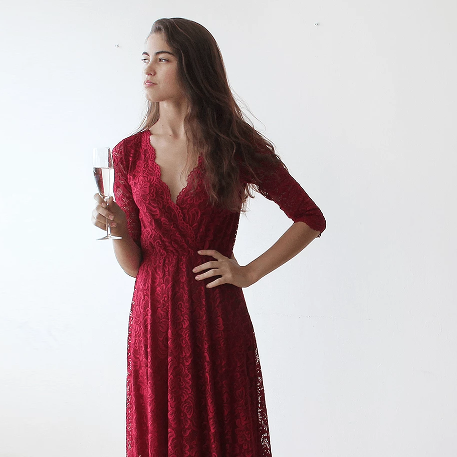 Lace three quarters sleeves Bordeaux maxi dress 1124 - Blushfashion
