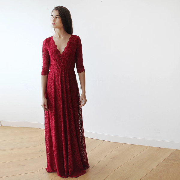 Lace three quarters sleeves Bordeaux maxi dress 1124