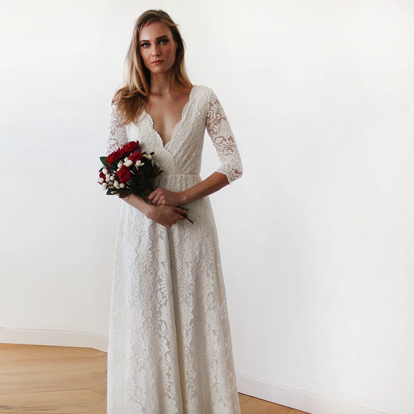 Sleeves lace wedding dress, Ivory boho wedding dress 1124